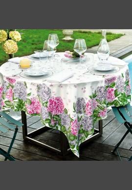 Obrus HORTENSIAS - kolor róż + szary  (1 rose/gris)